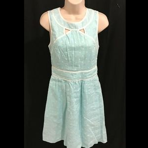 Kaari Blue Size 2 Dress Mint Blue Polka Dot Linen